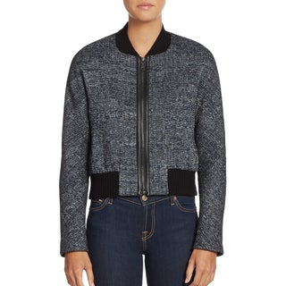 Elie Tahari Women's Mackenzie Black Tweed Bomber Jacket