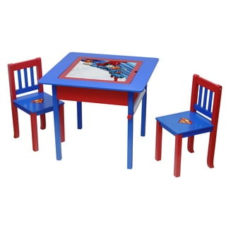 Superman Deluxe Multicolor Wood 4-in-1 Flip-top Table and Chairs Set