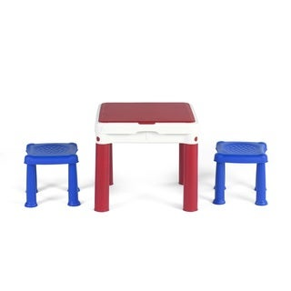 Keter ConstrucTable Kids Activity and Play Duplo and Lego Compatible Table with 2 Chairs