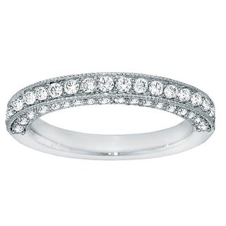 Platinum 1ct TDW Round Diamond Pave-set Wedding Band (G-H, SI1-SI2)