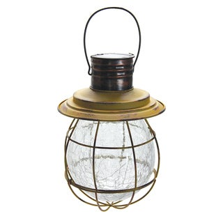 Solar Yellow Metal/Glass Hanging Lantern with String Lights