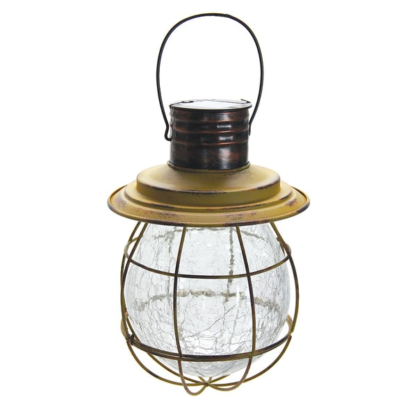 Solar Yellow Metal Glass Hanging Lantern With String