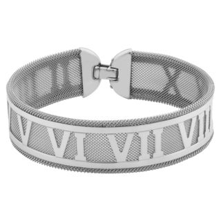 Argento Italia Sterling Silver Roman Numerals On Mesh Bracelet (7.5 inches)
