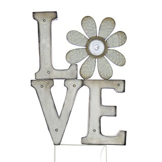 Solar 'Love' Marquee Off-white Metal Stake