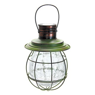 Exhart Green Metal/Glass Solar Hanging Lantern