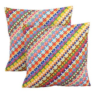 Kardiel Modern Multicolor Cotton 19-inch Square Decorative Accent Throw Pillows (Set of 2)