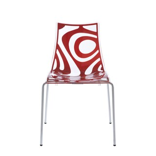 Wave Clear/Translucent Red Chrome-leg Stacking Dining Chairs (Pack of 4)