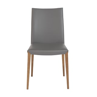 Maricella Anthracite Leather and Walnut Dining Chair (Set of 2)