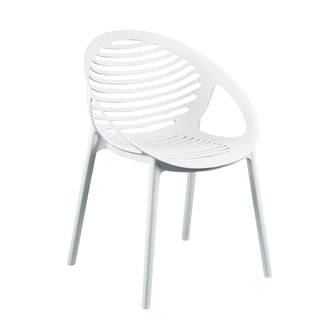 Lima White Polypropylene Stacking Arm Chair (Pack of 4)