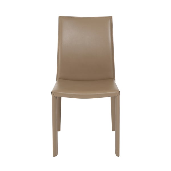Euro Style Hasina Taupe Regenerated Leather Dining Chair Set Of 2 Free Sh
