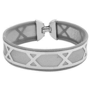 Argento Italia Rhodium Plated Sterling Silver Multiple Letter X Around Mesh Bracelet (7.5 inches)