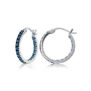 Glitzy Rocks Sterling Silver Simulated Turquoise Stone Inside Out 17mm Round Hoop Earrings
