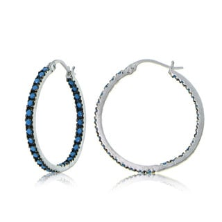 Glitzy Rocks Sterling Silver Simulated Turquoise Stone Inside Out 25mm Round Hoop Earrings