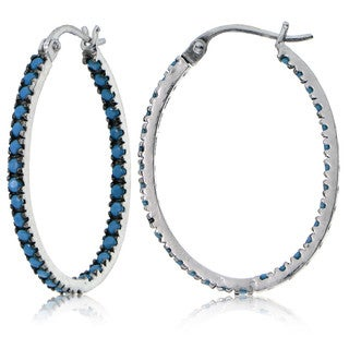 Glitzy Rocks Sterling Silver Simulated Turquoise Stone Inside Out 25mm Oval Hoop Earrings