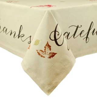 Cotton Rustic Leaves Print Tablecloth