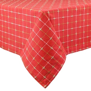 Red Cotton Holiday Dobby Tablecloth