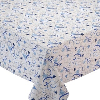 Hannukkah Multicolor/Blue Cotton Swirl-pattern Tablecloth