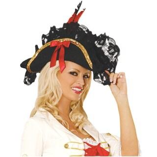 Black Wool Blend Pirate Hat
