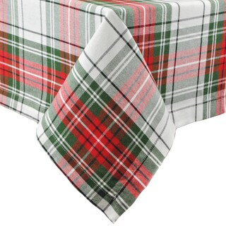 Multicolored Cotton 52-inch x 52-inch Plaid Christmas Tablecloth