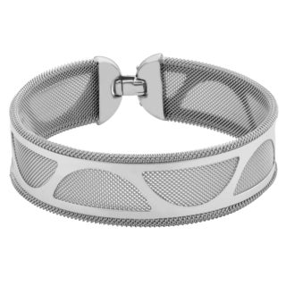 Argento Italia Rhodium Plated Sterling Silver Half Circle Cut-out Detail Mesh Bracelet (7.5 inches)