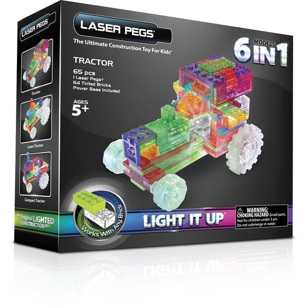 Laser Pegs Multicolor Plastic 6-in-1 Tractor Lighted Construction Toy
