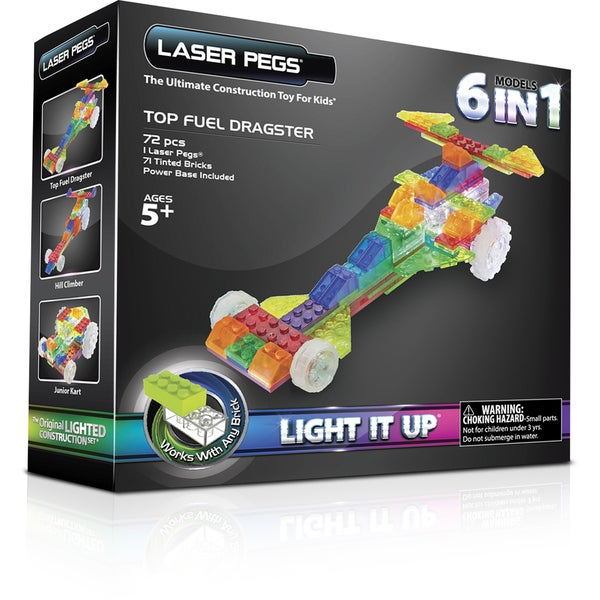 Laser Pegs 6-in-1 Dragster Lighted Construction Toy
