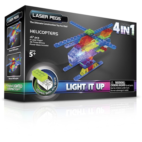 Laser Pegs MPS 4 in 1 Helicopter Lighted Construction Toy