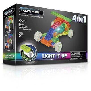 Laser Pegs MPS Multicolor Plastic 4-in-1 Cars Light-up Construction Toy