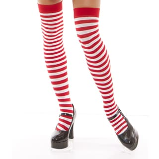 Elegant Moments Women's Red-and-white Striped Acrylic Thigh-highs