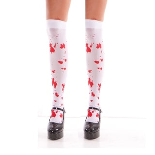 Women's Acrylic and Nylon Blood Splatter Thigh-high Stockings