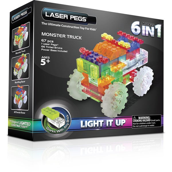 Laser Pegs 6-in-1 Monster Truck Lighted Construction Toy