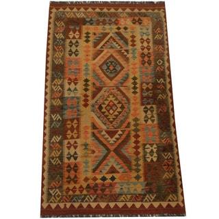 Herat Oriental Afghan Hand-woven Tribal Wool Kilim (3'11 x 6'10)