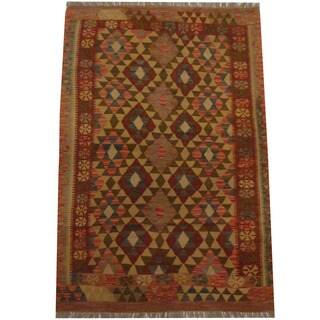 Herat Oriental Afghan Hand-woven Tribal Kilim (4' x 6'1)