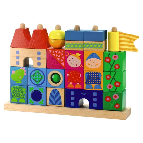Haba Stack-A-Dragons Castle Multicolored Wooden Block Set