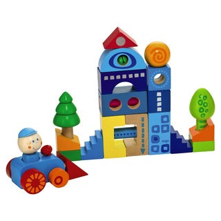 Habatown Colorful Wooden Blocks (25 Pieces)