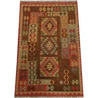 Herat Oriental Afghan Hand-woven Tribal Wool Kilim (4' x 6') - 4' x 6'