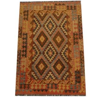 Herat Oriental Afghan Hand-woven Tribal Wool Kilim (4'2 x 6'1)