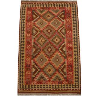 Herat Oriental Afghan Hand-woven Tribal Kilim (4' x 6'3)