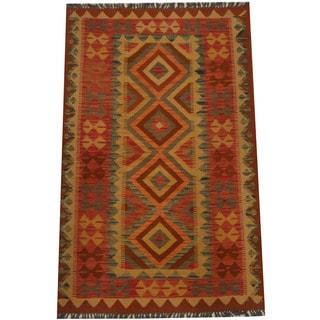 Herat Oriental Afghan Hand-woven Tribal Wool Kilim (3'2 x 5'1)