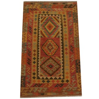 Herat Oriental Afghan Hand-woven Tribal Wool Kilim (3'2 x 5'3)