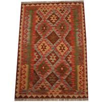 Herat Oriental Afghan Hand-woven Tribal Wool Kilim (3'4 x 4'10)