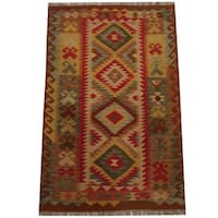 Herat Oriental Afghan Hand-woven Tribal Wool Kilim (3'3 x 4'11) - 3'3 x 4'11