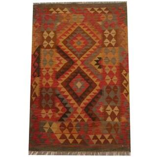 Herat Oriental Afghan Hand-woven Tribal Wool Kilim (3'1 x 4'8)