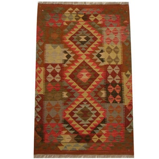 Herat Oriental Afghan Hand-woven Tribal Wool Kilim (3'2 x 4'11)