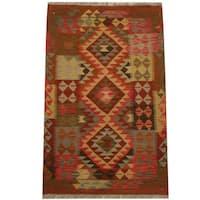Herat Oriental Afghan Hand-woven Tribal Wool Kilim (3'2 x 4'11) - 3'2 x 4'11