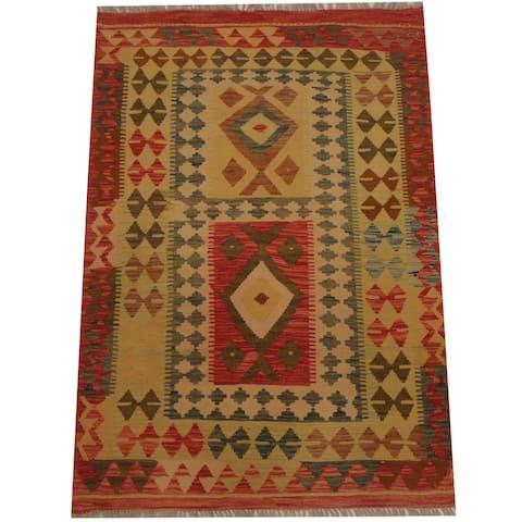 Handmade One-of-a-Kind Wool Kilim (Afghanistan) - 3'6 x 5'