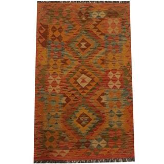 Herat Oriental Afghan Hand-woven Tribal Wool Kilim (3'1 x 4'11)