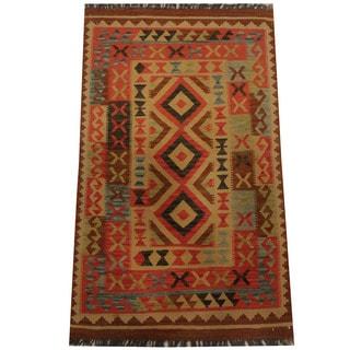 Herat Oriental Afghan Hand-woven Tribal Kilim (3' x 5')