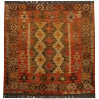 Herat Oriental Afghan Hand-woven Tribal Kilim (3' x 3')