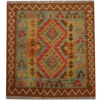 Herat Oriental Afghan Hand-woven Tribal Wool Kilim (2'8 x 2'10)